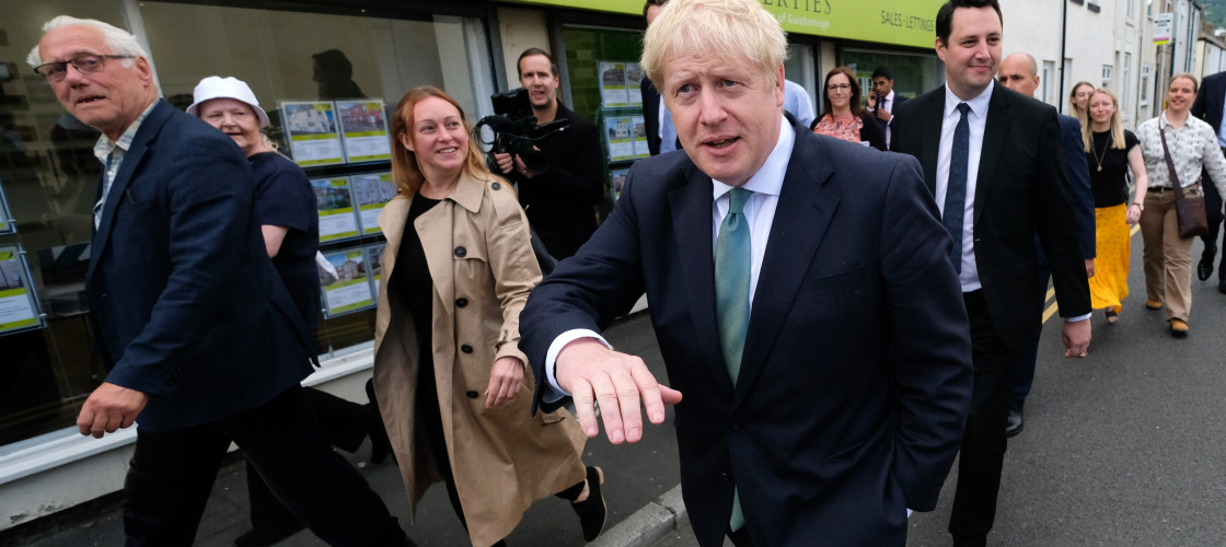 Conservative party leadership candidate Boris Johnson during a visit to Guisborough, North Yorkshire.