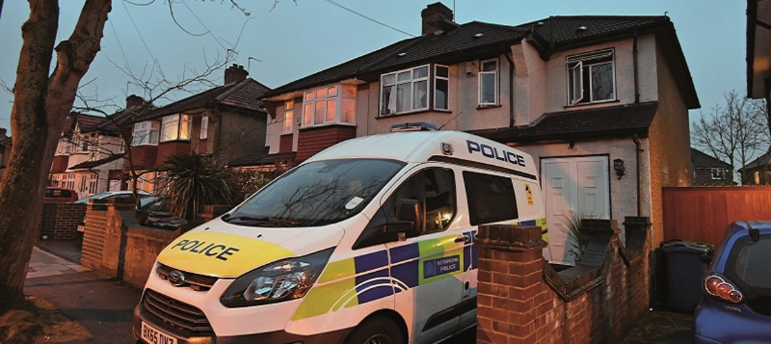 Police at a house in Edgware, north London where two men died after a possible carbon monoxide leak in 2018.
