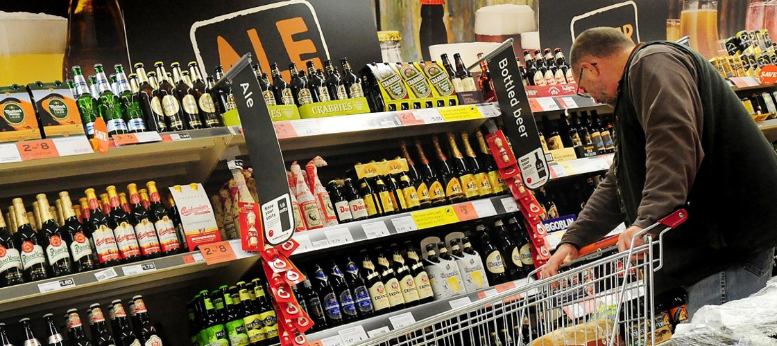 Alcoholic drinks in a supermarket