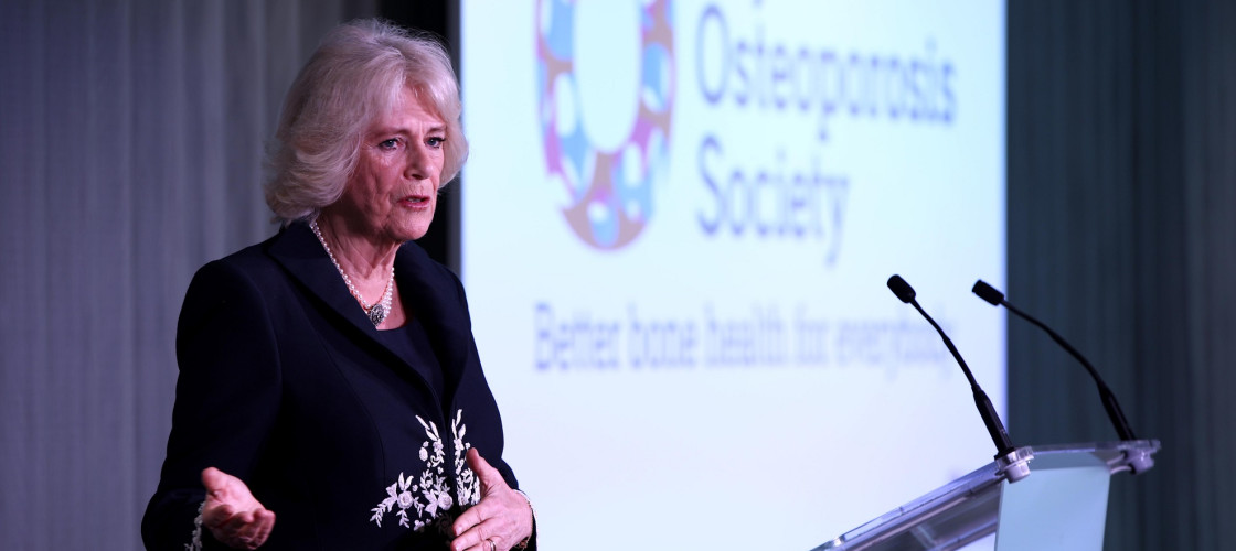 The Duchess of Cornwall speaking at the official launch of the Royal Osteoporosis Society at the Science Museum in London.