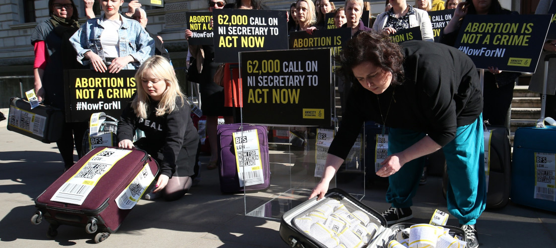 Protests over abortion in Northern Ireland in Westminster
