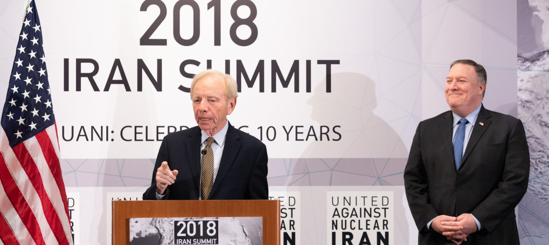 Joe Lieberman, former U.S. Senator, and Mike Pompeo, U.S. Secretary of State, at the United Against Nuclear Iran (UANI) 2018 Iran Summit in New York City, New York on September 25, 2018