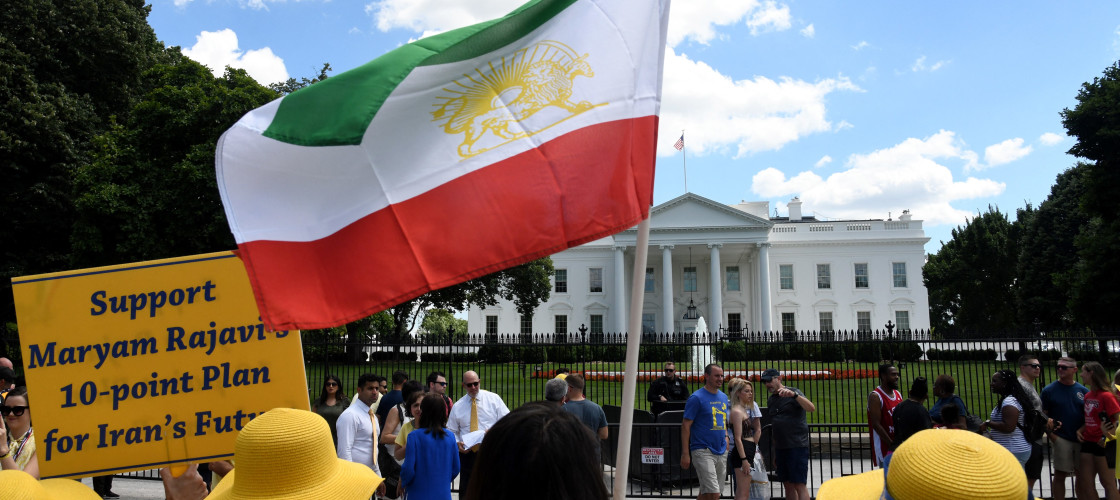 "The Organization of Iranian American Communities march to urge ""recognition of the Iranian people's right for regime change,"" in front of the White House in Washington, DC, on June 21, 2019"