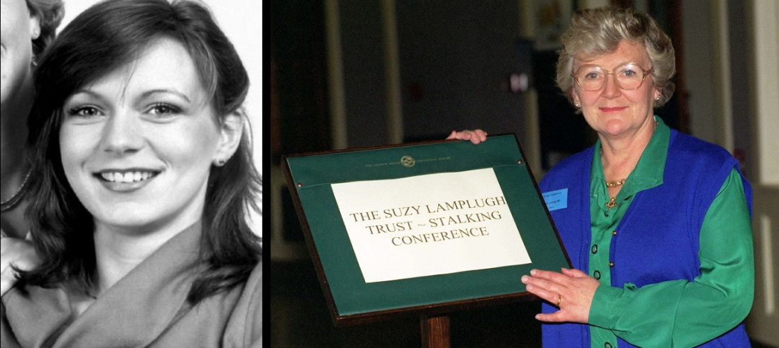 LEFT: Missing estate agent Suzy Lamplugh who vanished in July 1986,  RIGHT: Diana Lamplugh opens a conference in London, organised by the Suzy Lamplugh Trust on the Government's plans to combat the menace of 'stalkers'.