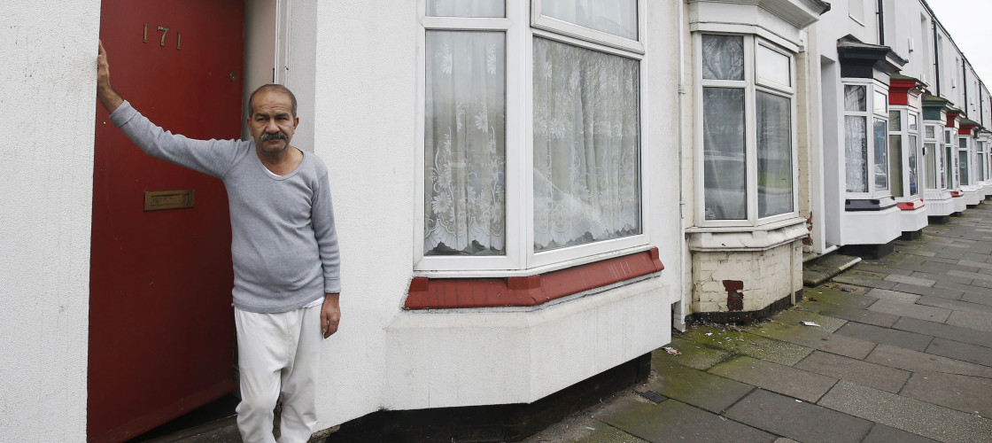 Iranian asylum seeker Mohammed Bagher Bayzavi at his front door in Union Street, Middlesbrough