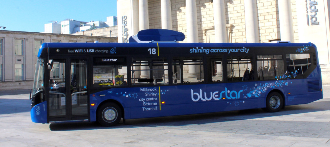 Go-Ahead's landmark air-filtering bus in Southampton, which cleans the air around it as it travels