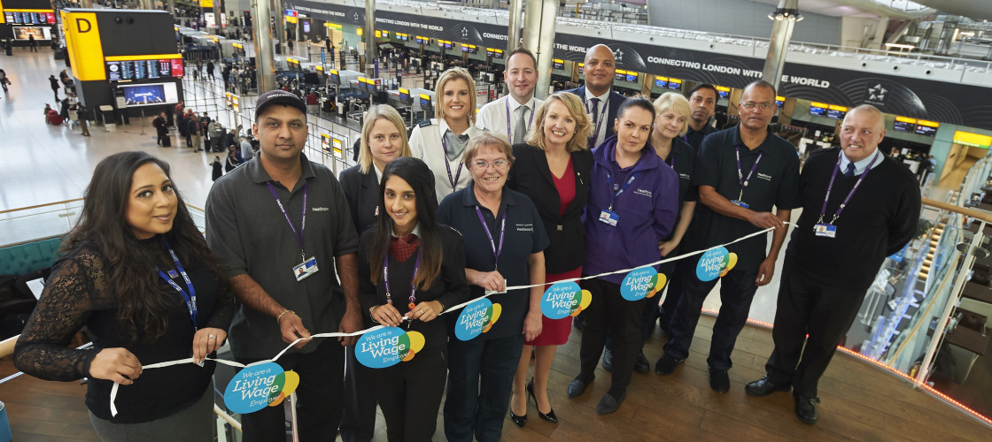 Heathrow staff and partners celebrating Living Wage Week