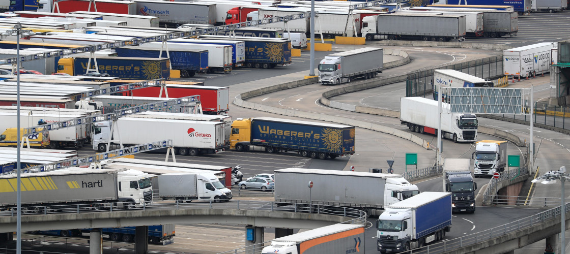 Lorries arrive at the Port of Dover in Kent
