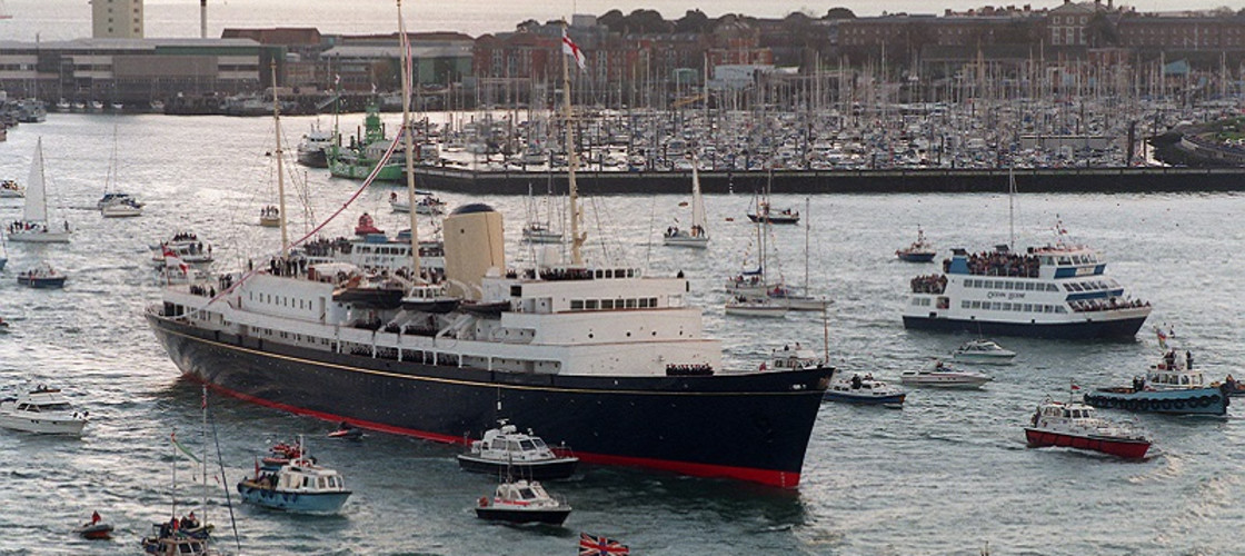 The Royal Yacht Britannia sailing into Portsmouth for the last time