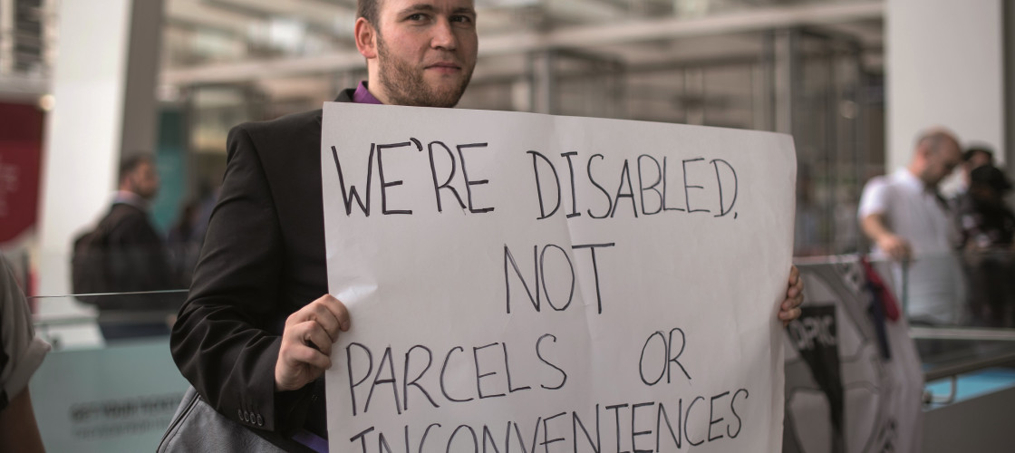 Disability campaigners stage a protest at London Bridge station last month