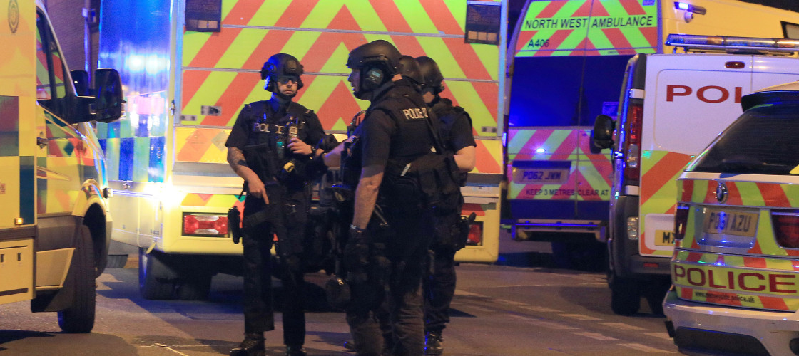 Armed police outside the Manchester Arena following May's attack