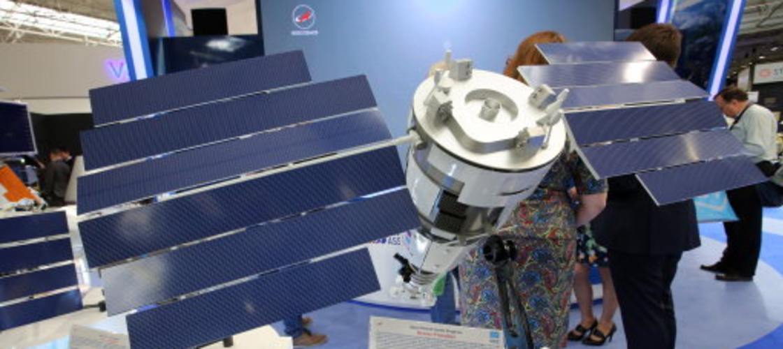 Russian satellite on display at the Paris Air Show