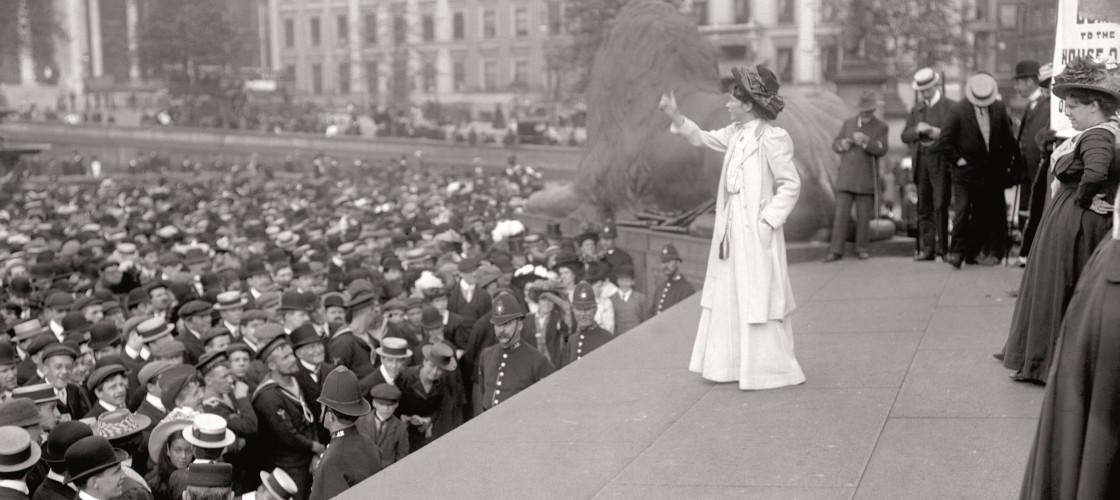 A suffragette rally in Trafalgar Square, 1909