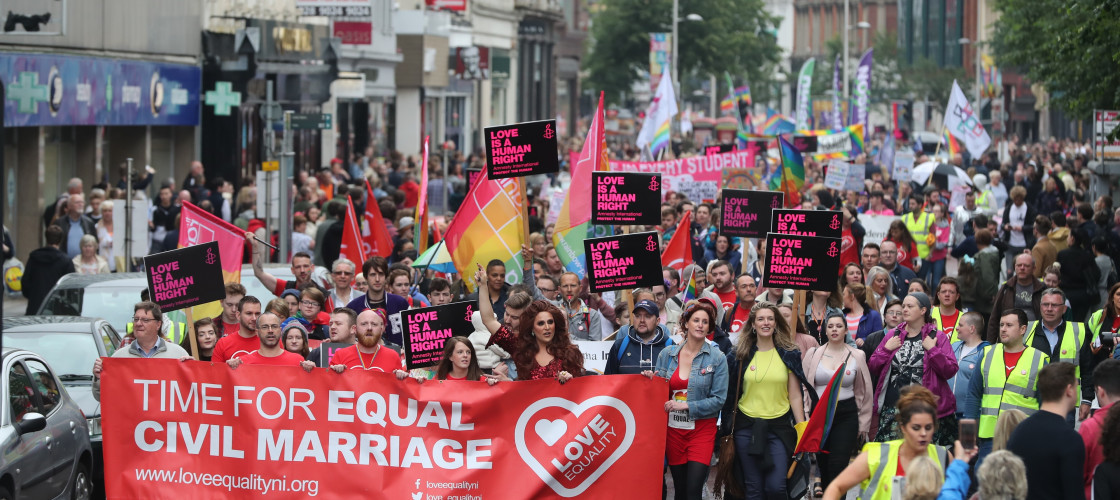 Campaigners calling for the introduction of same sex marriage in Northern Ireland during a parade and rally in Belfast City centre