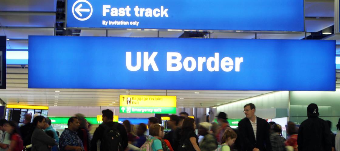 UK border checks at an airport