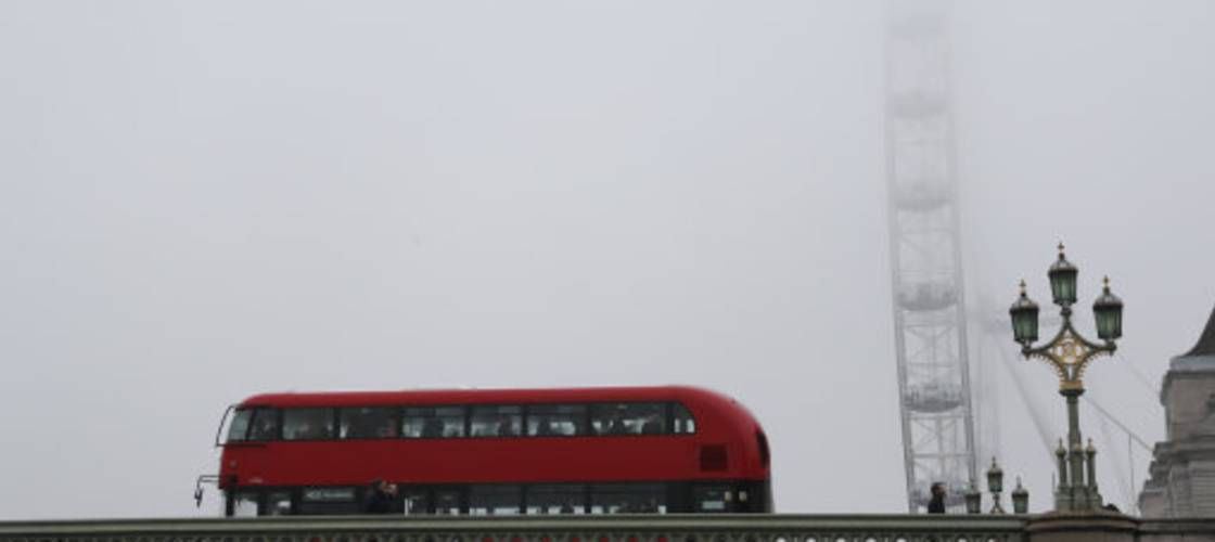Double-decker bus near the London Eye