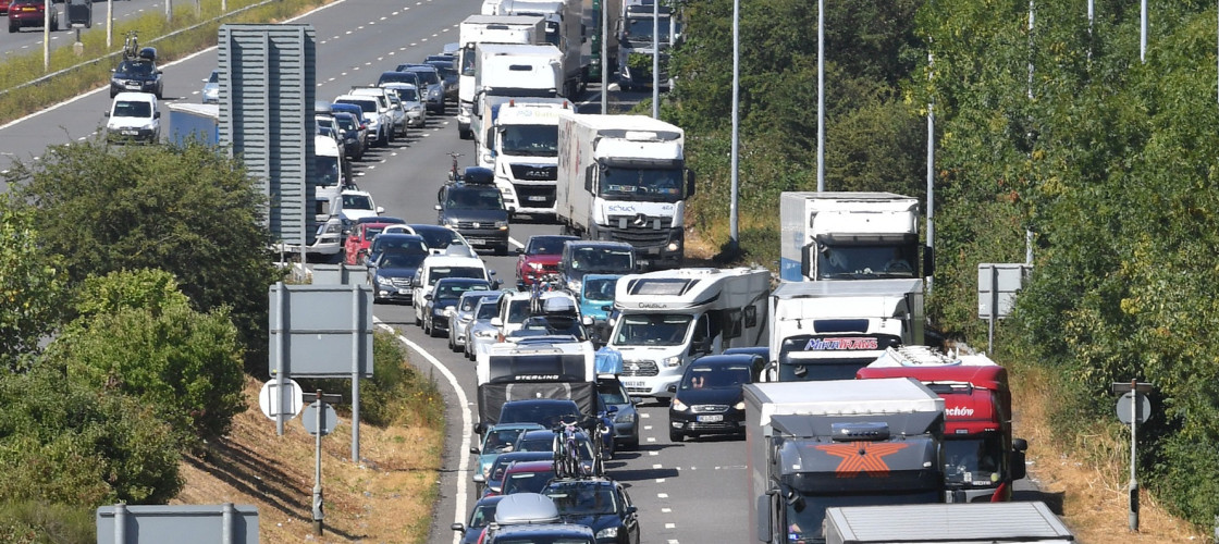 Traffic queueing on the M20 approaching the Eurotunnel terminal in Folkestone, Kent