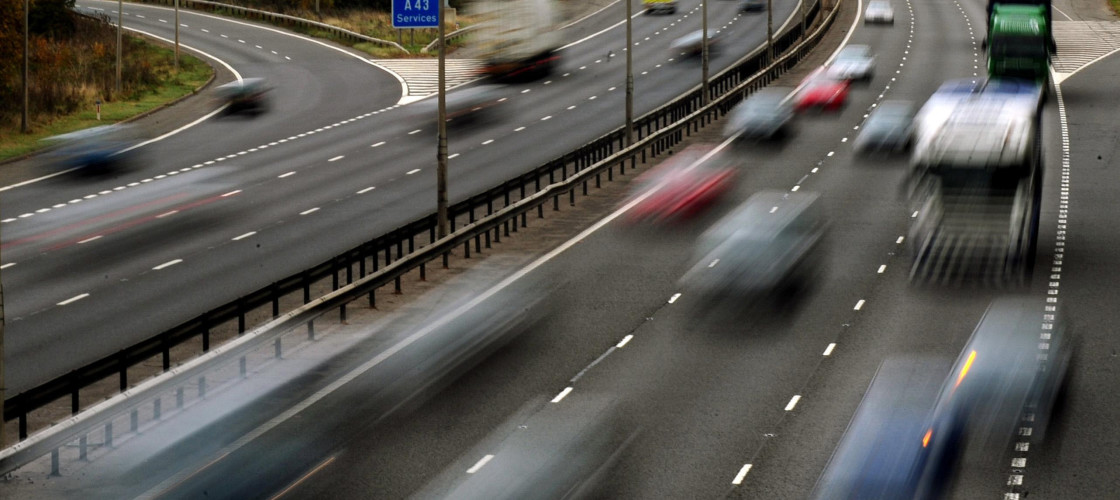 Traffic passes along a motorway