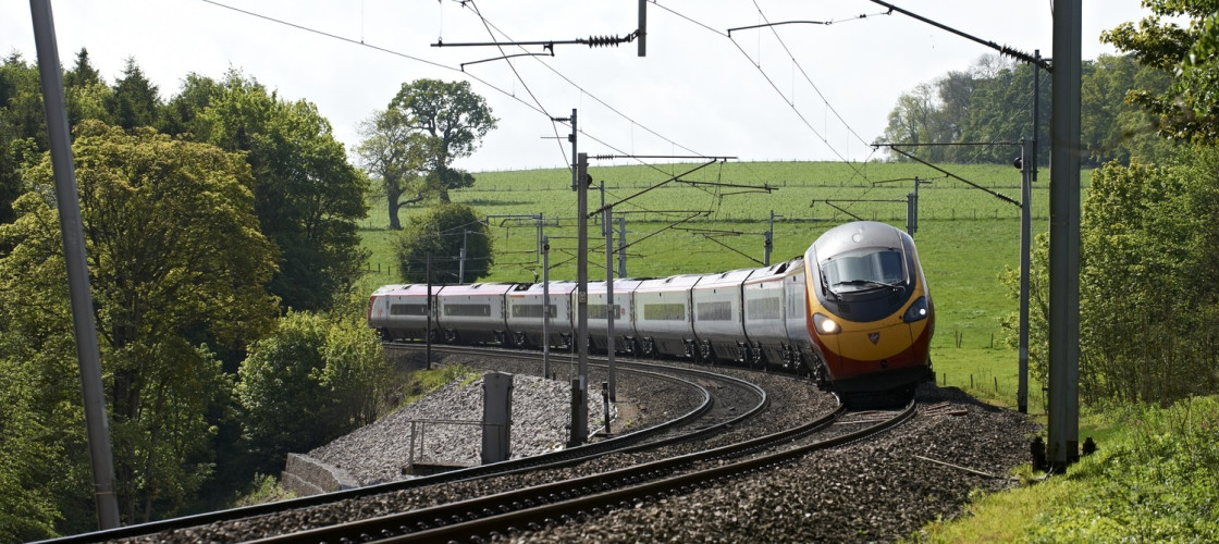 Pendolino train on a track