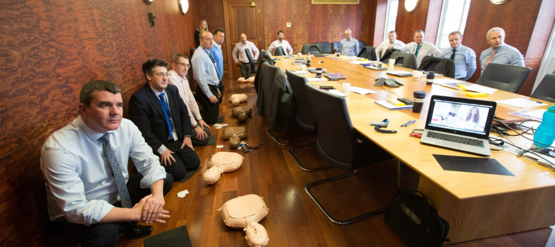Airbus Filton management team learn CPR