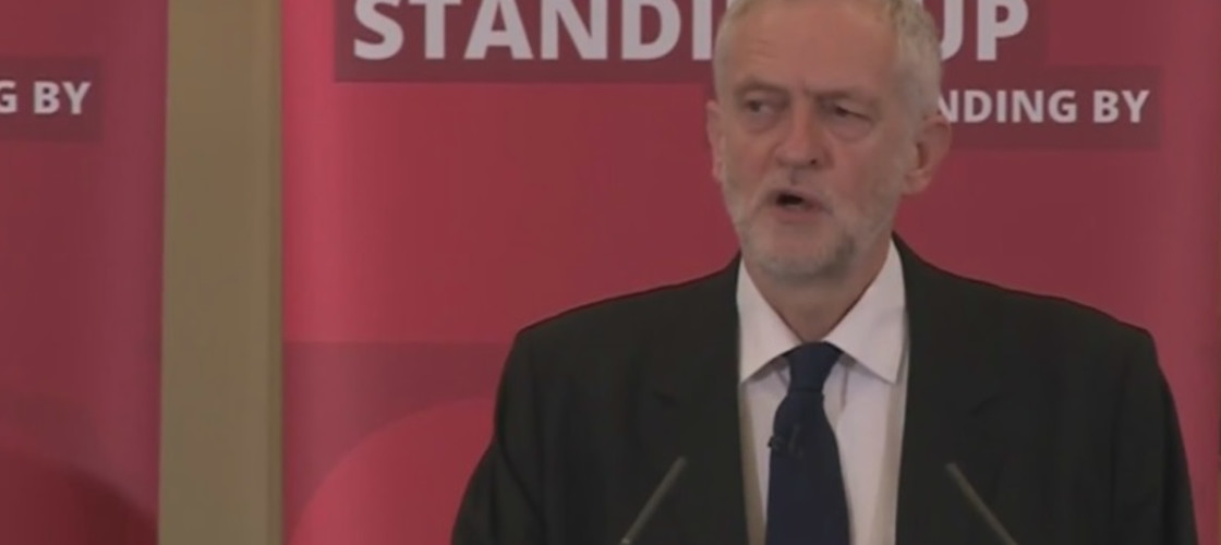 Jeremy Corbyn makes a speech after the publication of the Chilcot Inquiry