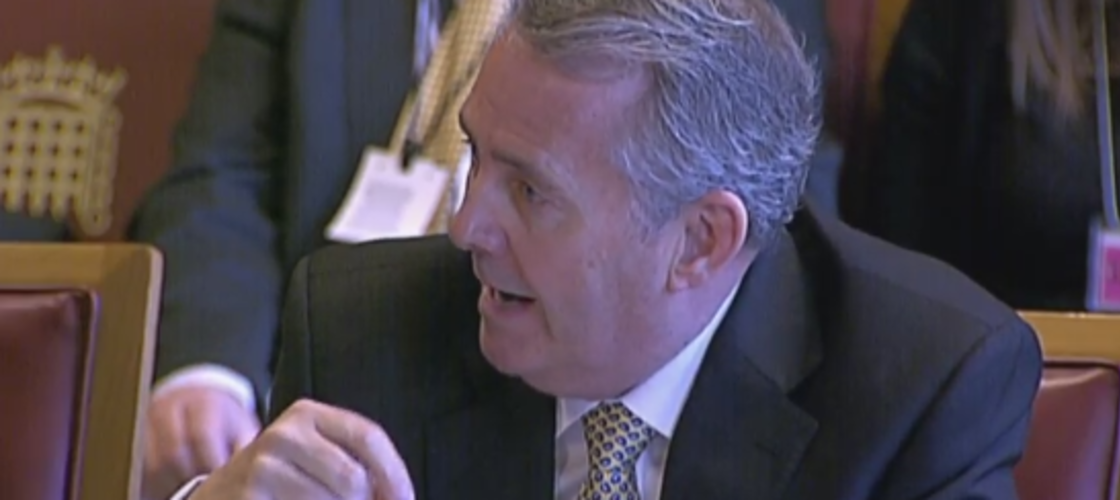 Liam Fox appearing in front of a Lords committee