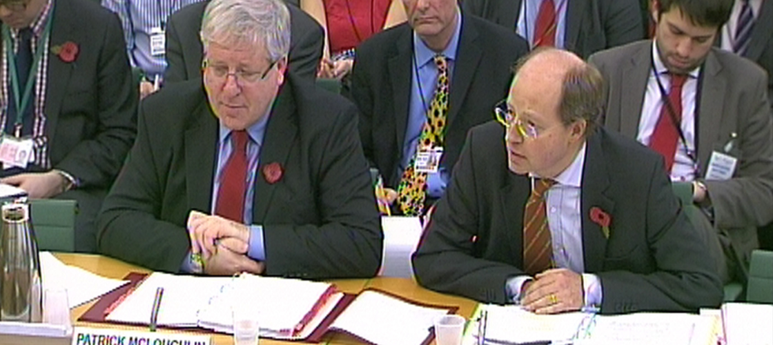 Patrick McLoughlin and Philip Rutnam at a select committee hearing