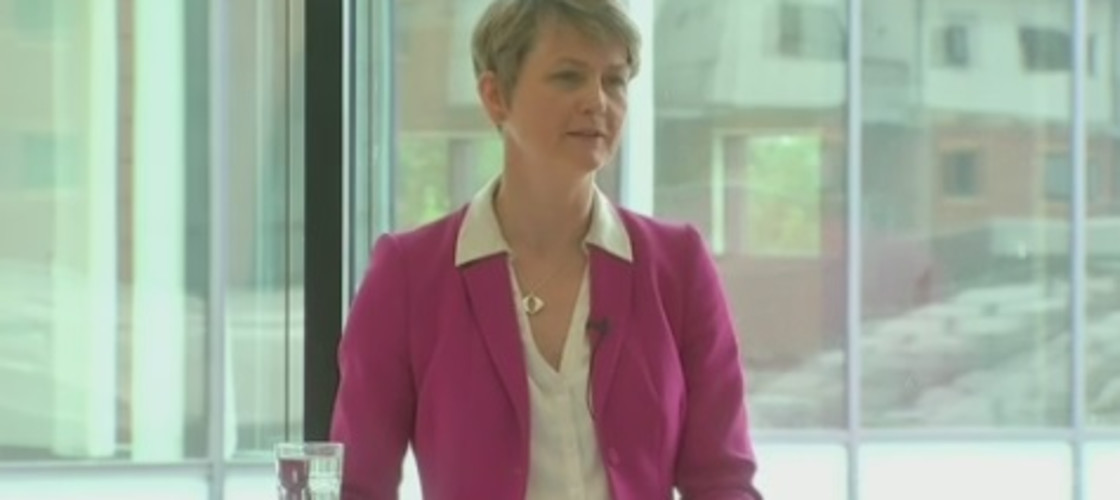 Labour leadership contender Yvette Cooper at a speech in Manchester, 13/08/15