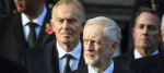 Jeremy Corbyn and Tony Blair at a remembrance day service