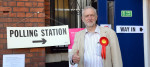 Jeremy Corbyn at a polling station in his Islington North constituency