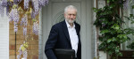Jeremy Corbyn outside his north London home this morning