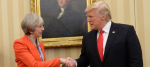 Theresa May and Donald Trump in the White House