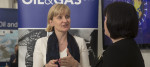 Dierdre Michie speaks with an attendee at Oil & Gas UK stand