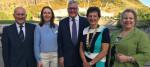 John Scott MSP; BVA Pres Gudrun Ravetz; Fergus Ewing MSP; BVA Scot Branch Pres Melissa Dona stand outside Scottish Parliament