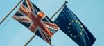 An EU flag alongside a Union Jack in central London