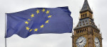 European Union flag flies in front of Elizabeth Tower
