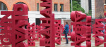A view of the Make Blood Cancer Visible installation, at Paternoster Square in London.