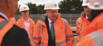 Prime Minister Boris Johnson meets engineering graduates on the site of an under-construction tramline in Stretford (2019)