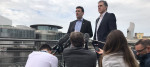 Andy Burnham and Steve Rotheram in Salford Quays