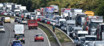 Traffic on a UK motorway.