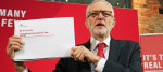 Jeremy Corbyn with leaked documents on Northern Ireland