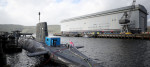 The Vanguard-class nuclear deterrent submarine HMS Vengeance at HM Naval Base Clyde, Faslane