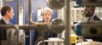 Theresa May during a visit to Imperial College in London where she saw machinery which converts carbon dioxide into oxygen after her announcement that the UK is to set a legally binding target to end its contribution to climate change by 2050.