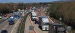 A view of the M20 motorway near Ashford in Kent, as one side of the main motorway to the Port of Dover closes for Operation Brock, a contraflow system between junctions 8 and 9 to ease congestion in Kent if traffic grinds to a standstill in the event of a