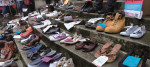"""Empty pairs of shoes, representing a patient of ME, were on display at a """"Millions Missing"""" rally in May"""