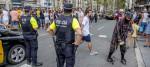Police patrol Las Ramblas in Barcelona