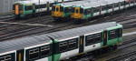 Trains parked at a Southern rail depot in south London