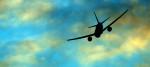A plane banking during take-off
