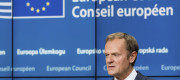 Donald Tusk addresses the media in Brussels last night