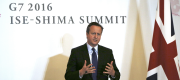 David Cameron at a press conference after the G7 meeting in Japan